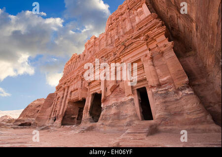The Palace tomb in Petra in Jordan is one of the biggest of the Royal Tombs. Part of its facade was completed with - Stock Photo