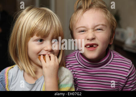 Children making funny faces - model released - Stock Photo