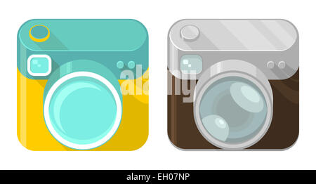 Vector set of camera icons in modern and vintage design styles - Stock Photo