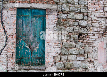 Old blue wooden balconies - Stock Photo