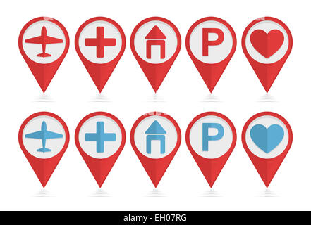 Vector set of pointers with airplane, hotel, parking, health icons - Stock Photo