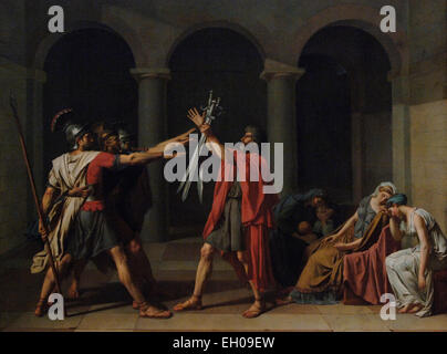 Jacques-Louis David (1748-1825). French painter. Neoclassical. Oath of the Horatii, 1784. Oil on Canvas. Museum - Stock Photo