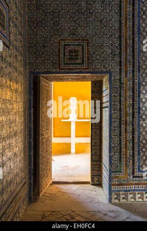 Casa de Pilatos with tiles wall, an Andalisian palace in Seville - Stock Photo