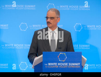 U.S. Attorney General Eric Holder delivers remarks during the  the White House Summit to Counter Violent Extremism, - Stock Photo
