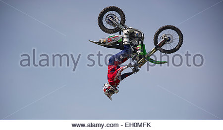 which way up, motor cycle tricks. - Stock Photo