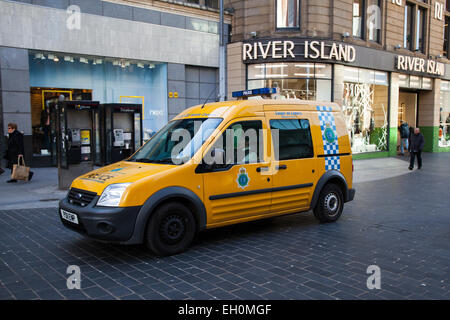 Police Community Safety Mobile CCTV Unit vehicle, with roof camera, patrolling Liverpool One, Merseyside, UK - Stock Photo