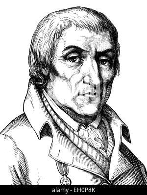Digital improved image of Christian Joachim Nettelbeck, German folk hero, 1738 - 1824, portrait, historic illustration, - Stock Photo
