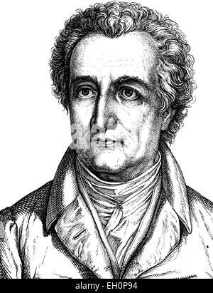 Digital improved image of Johann Wolfgang von Goethe, German poet, 1749 - 1832, portrait, historic illustration, - Stock Photo