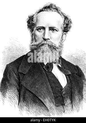Emil Palleske, 1823-1880, actor and writer, historical illustration, circa 1886 - Stock Photo