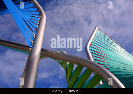 Low angle view of a metal sculpture in front of a building, the Forum, Barcelona, Spain - Stock Photo
