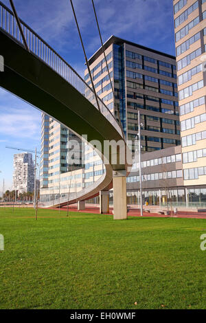 Low angle view of a metal bridge in front of a building, the Forum, Barcelona, Spain - Stock Photo