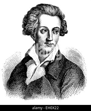 August von Kotzebue (1761-1819), dramatist and writer, historical illustration, circa 1886 - Stock Photo