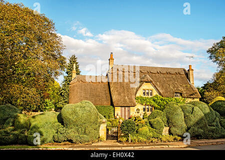 Thatched Cottage in the Cotswolds near Chipping Camden - Stock Photo