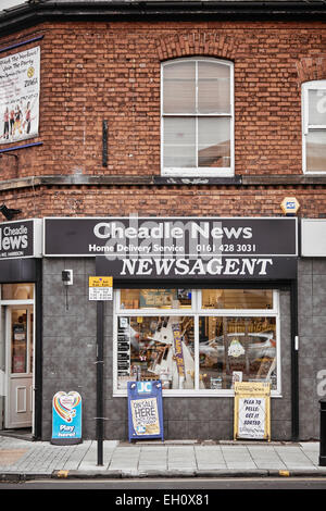 Stockport Manchester newsagent front exterior in Cheadle village - Stock Photo