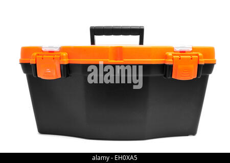 closeup of a plastic toolbox on a white background - Stock Photo