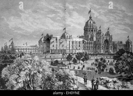 Main building of the World's Fair International Exhibition of Arts, in Melbourne, 1880, Australia, historical illustration, - Stock Photo