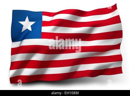 Waving flag of Liberia isolated on white background - Stock Photo