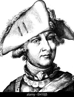 Digital improved image of Friedrich Wilhelm, Freiherr von Seydlitz, 1721 - 1773, portrait, historical illustration, - Stock Photo