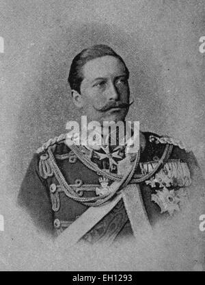 Wilhelm II, 1859 - 1941, German Emperor, King of Prussia, woodcut from 1880 - Stock Photo