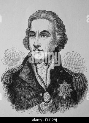 Horatio Nelson, 1st Viscount Nelson, 1758 - 1805, British Admiral, woodcut from 1880 - Stock Photo