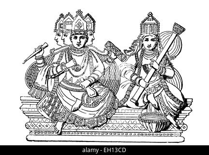 Brahma and Saraswati, Hindu gods, India, woodcut from 1880 - Stock Photo