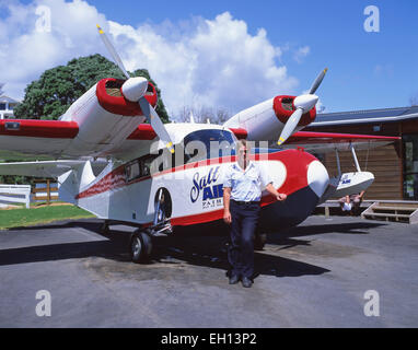 Salt Air sightseeing aircraft, Paihia, Bay of Islands, Northland Region, North Island, New Zealand - Stock Photo