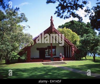 Te Whare Runanga Treaty House, Waitangi Treaty Grounds, Waitangi, Bay of Islands, Northland Region, North Island, - Stock Photo