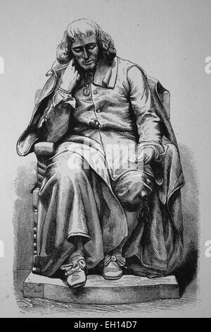 Baruch de Spinoza, 1632 - 1677, Dutch philosopher, statue in The Hague, woodcut from 1880 - Stock Photo