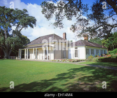 The Treaty House and gardens, Waitangi Treaty Grounds, Waitangi, Bay of Islands, Northland Region, North Island, - Stock Photo