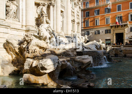 Fontana di Trevi, the largest Baroque fountain in the city and one of the most famous fountains in the world. - Stock Photo