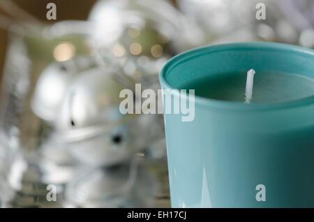 Blue Christmas Unlit Festive Candle - Stock Photo