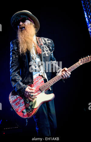 Toronto, Ontario, Canada. 4th Mar, 2015. Leader of American rock band ZZ Top BILLY GIBBONS performs at Peterborough - Stock Photo
