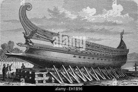 Warship designed by Napoleon III, historic woodcut, circa 1880 - Stock Photo