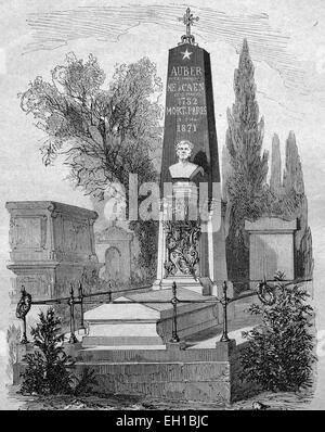 Tomb of Daniel Francois Esprit Auber on a cemetery in Paris, French composer, historic illustration, 1877 - Stock Photo