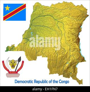 Map Democratic Republic Of The Congo And Capital City Kinshasa - Democratic republic congo map