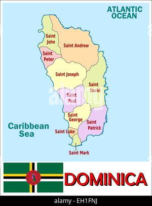 Dominica administrative divisions - Stock Photo