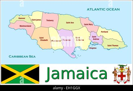 Jamaica administrative divisions - Stock Photo