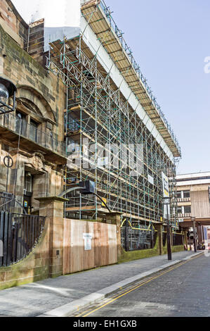 Scaffolding on the Glasgow School of Art building in Renfrew Street Glasgow Scotland between the two fires - Stock Photo