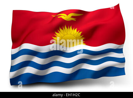 Waving flag of Kiribati isolated on white background - Stock Photo