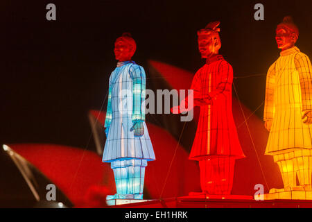 The Lanterns of the Terracotta Warriors in front of the Sydney Opera House illuminated in red at night to mark Chinese - Stock Photo