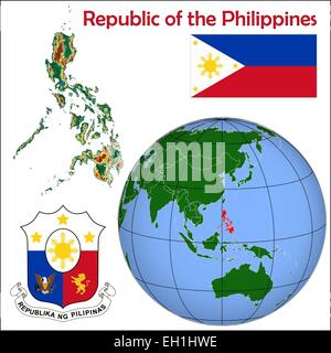 Philippines globe location - Stock Photo