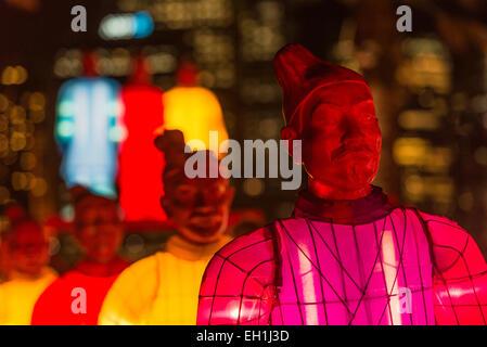 Illuminated Lanterns of the Terracotta Warriors against the Circular Quays end of Sydney CBD, celebrating Chinese - Stock Photo