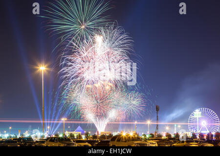 Fireworks at the Dubai Global Village. December 19, 2014 in Dubai, United Arab Emirates - Stock Photo