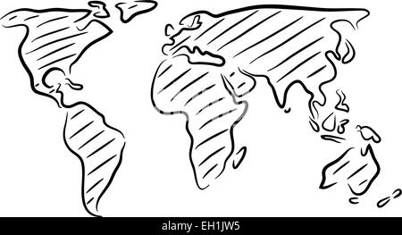 Sketch of world map hand drawn stylish travel map stock vector art editable vector rough outline sketch of a world map stock photo gumiabroncs Gallery