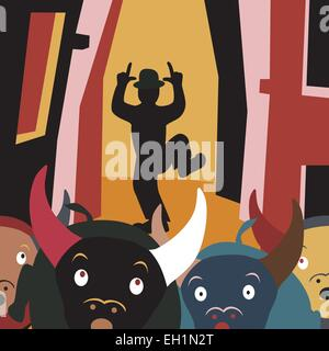 Editable vector cartoon illustration of bulls running away from a man in a street festival - Stock Photo