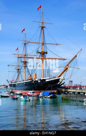 HMS Warrior 1860 warship in Portsmouth Harbor, Hampshire, England, United Kingdom - Stock Photo