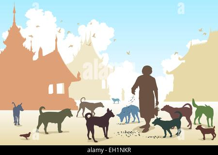 Editable vector illustration of a woman feeding stray dogs in a Buddhist temple where many abandoned pets end up - Stock Photo