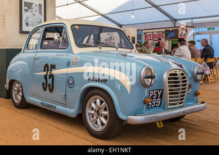 Graham Hill's Austin A35 rally car, PSY599, on static display at the 2014 Goodwood Revival meeting, Sussex, UK. - Stock Photo