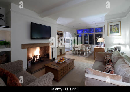 An Open Living Room Dining Room With Fireplace Amp Electric