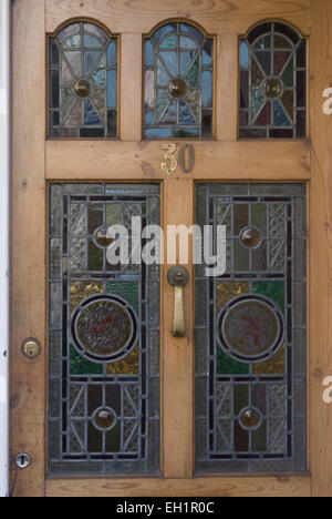 Stained glass front door british housing london stock for Domestic front doors